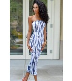 Navy White Strapless Tie Dye